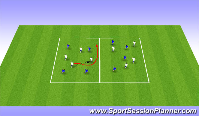 Football/Soccer Session Plan Drill (Colour): 4v4 pointy ball