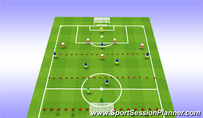Football/Soccer Session Plan Drill (Colour): Back 4 shape