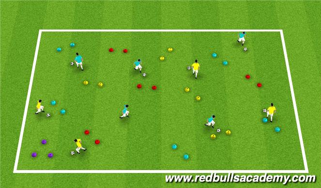 Football/Soccer Session Plan Drill (Colour): Warm-up: Messi/Ronaldo through gates