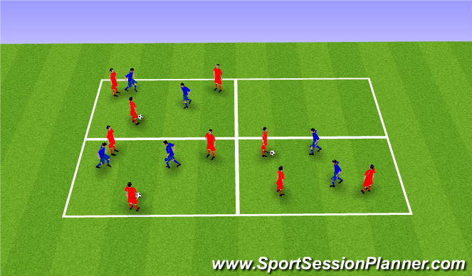 Football/Soccer Session Plan Drill (Colour): Warm up rondos