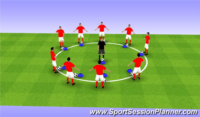 Football/Soccer Session Plan Drill (Colour): Rythmatic warm up