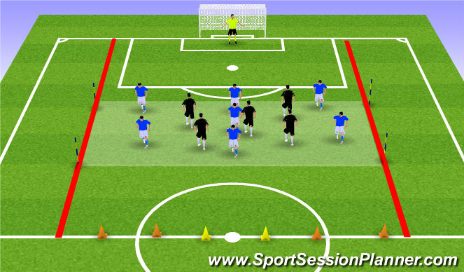 Football/Soccer Session Plan Drill (Colour): 7+K vs 5.
