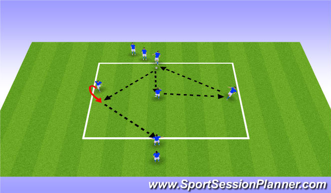 Football/Soccer Session Plan Drill (Colour): pattern passing II