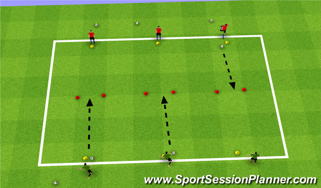 Football/Soccer Session Plan Drill (Colour): U7-Shooting-Warmup