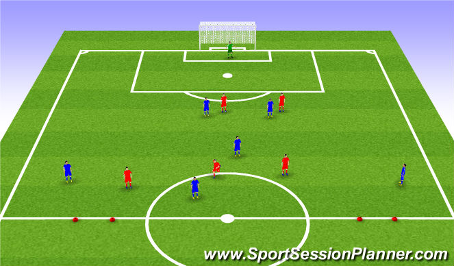 Football/Soccer Session Plan Drill (Colour): 5+2:3+2 Scrimmage in 5-3-2
