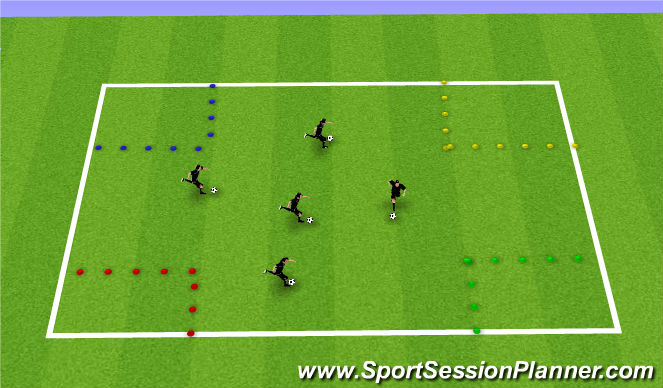 Football/Soccer Session Plan Drill (Colour): Corner Squares
