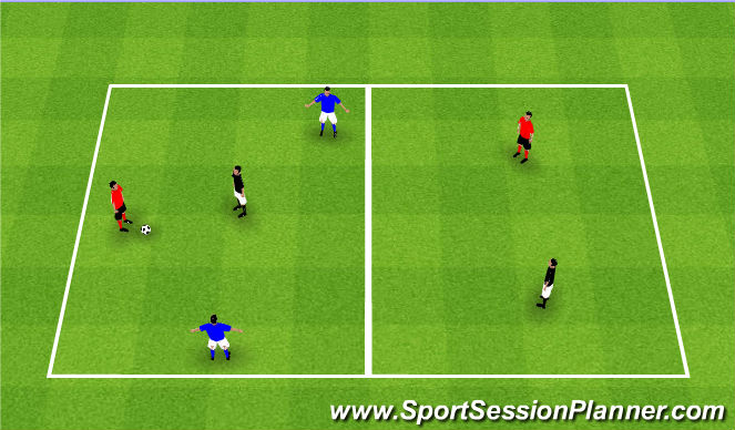 Football/Soccer Session Plan Drill (Colour): 3v1 two zone transfer