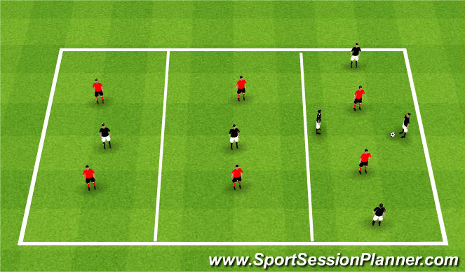 Football/Soccer Session Plan Drill (Colour): 3 Zone Team Transition
