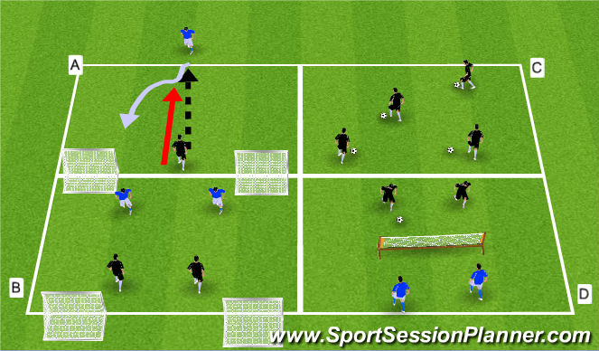 Football/Soccer Session Plan Drill (Colour): Technical Warm-Up Circuit