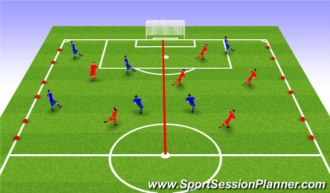 Football/Soccer Session Plan Drill (Colour): Possesion game 4 v 2 to 3 v 4