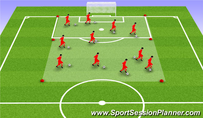 Football/Soccer Session Plan Drill (Colour): Warmup - Dribbling