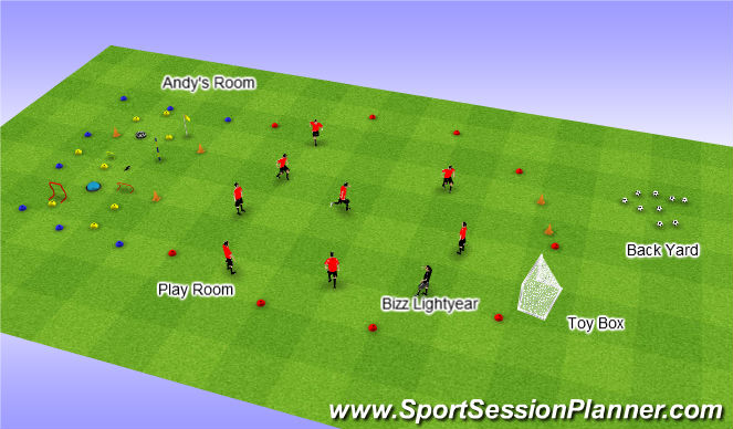 Football/Soccer Session Plan Drill (Colour): Toy Story - Woody's Hat