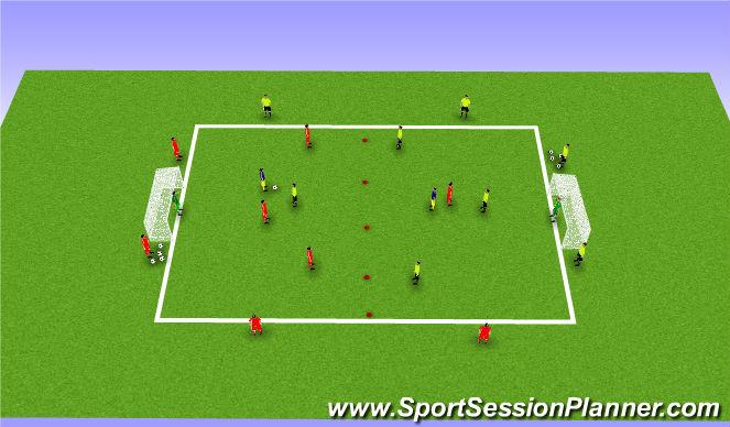 Football/Soccer Session Plan Drill (Colour): 4v4+6