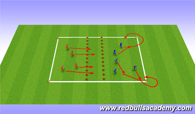 Football/Soccer Session Plan Drill (Colour): switch and around