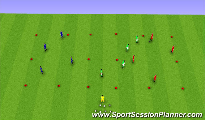 Football/Soccer Session Plan Drill (Colour): Small-Sided 4v4v4