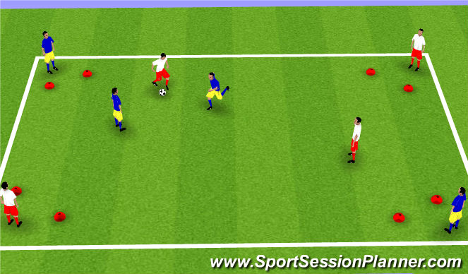 Football/Soccer Session Plan Drill (Colour): 2v2 to Diagonal Gates