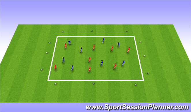 Football/Soccer Session Plan Drill (Colour): 4 Phase WU