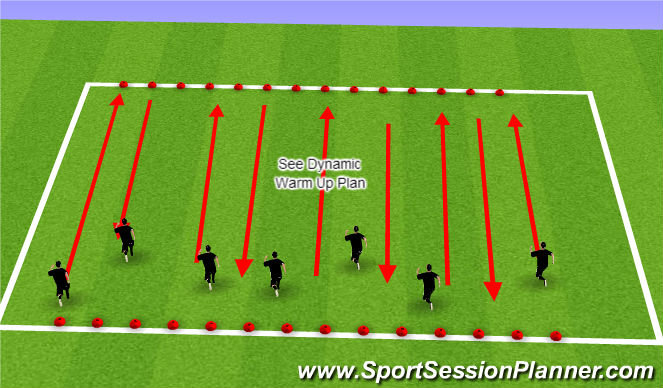 Football/Soccer Session Plan Drill (Colour): Dynamic Warm Up Routine
