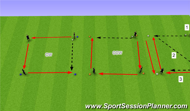 Football/Soccer Session Plan Drill (Colour): Passing Squares