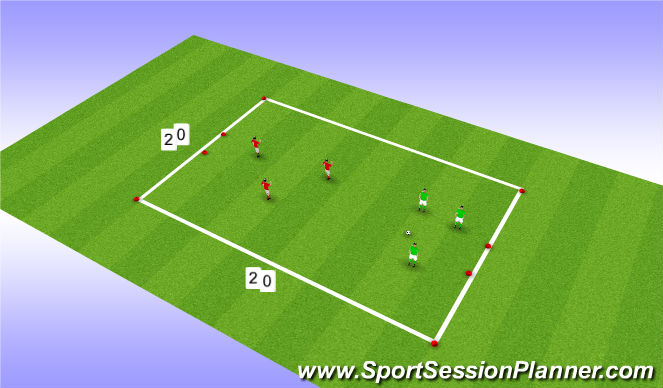Football/Soccer Session Plan Drill (Colour): SSG 3v3