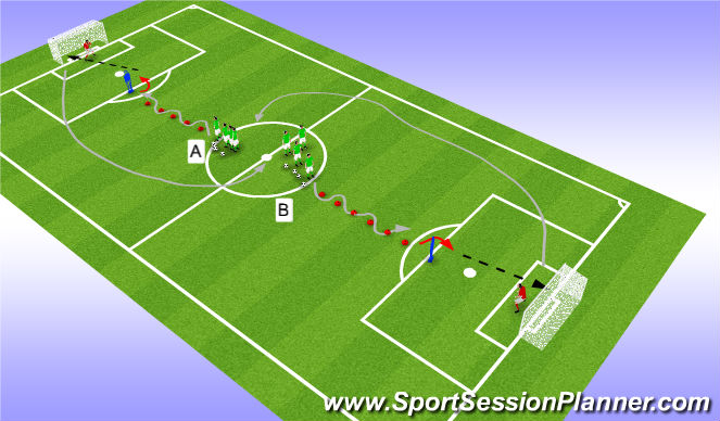 Football/Soccer Session Plan Drill (Colour): dribbling to shoot