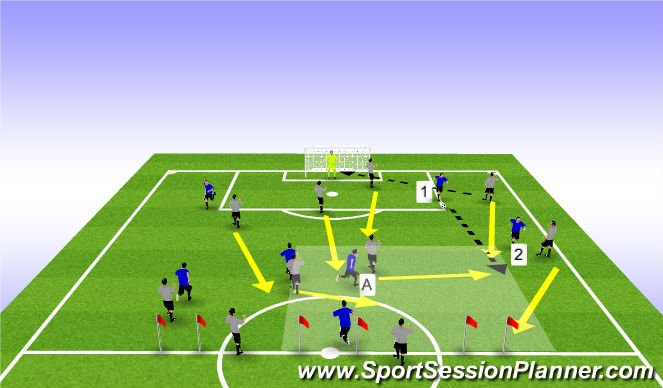 Football/Soccer Session Plan Drill (Colour): Defensive shape/transition