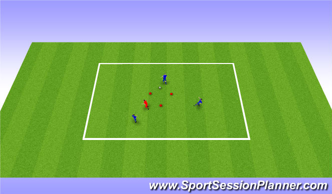 Football/Soccer Session Plan Drill (Colour): 3 v 1  , passing