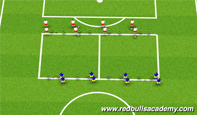 Football/Soccer Session Plan Drill (Colour): 2v2 - Cover