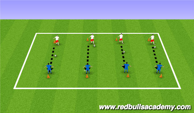 Football/Soccer Session Plan Drill (Colour): Kockdown the Cone