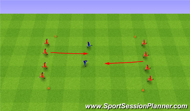 Football/Soccer Session Plan Drill (Colour): Sharks and minnows. Rekiny i płotki.