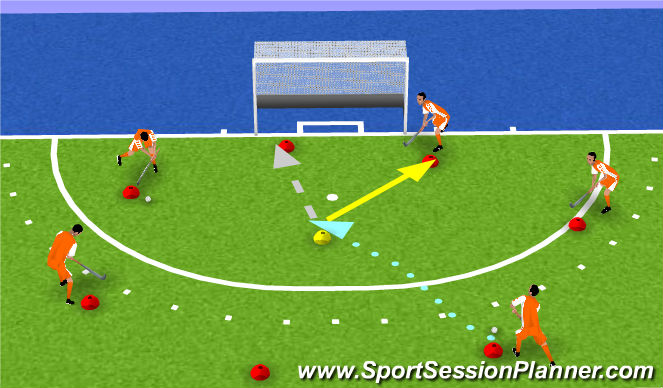 Hockey Session Plan Drill (Colour): rondootje