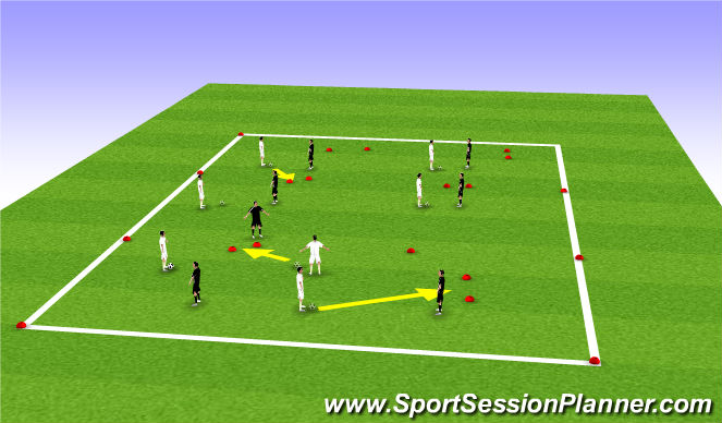 Football/Soccer Session Plan Drill (Colour): 1 v 1 Duel to score through gates