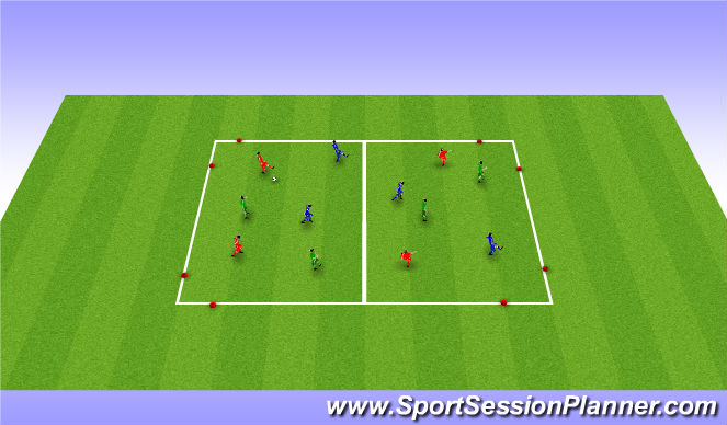 Football/Soccer Session Plan Drill (Colour): 20 min: Warm Up - 3 teams possession game