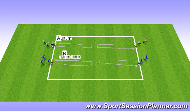 Football/Soccer Session Plan Drill (Colour): warm-up Coerver moves
