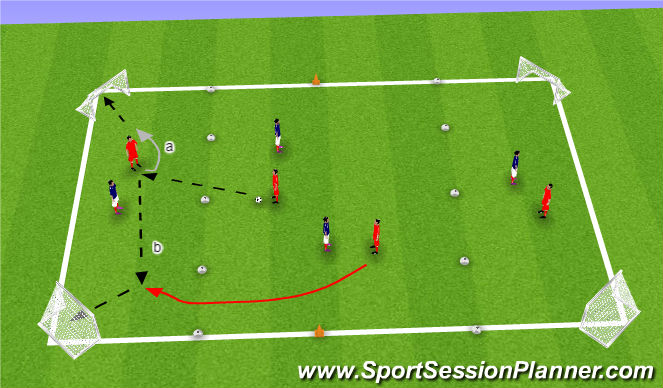 Football/Soccer Session Plan Drill (Colour): SSG target man 4 goal
