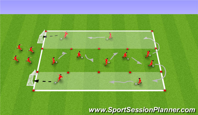 Football/Soccer Session Plan Drill (Colour): Skills Corridor warm up