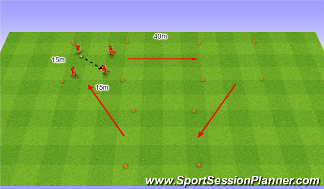 Football/Soccer Session Plan Drill (Colour): Directional Warm up. Three squares. Rozgrzewka kierunkowa. Trzy kwaraty.
