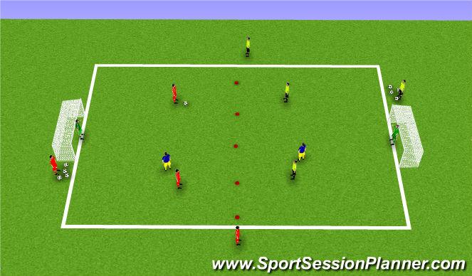 Football/Soccer Session Plan Drill (Colour): 2v2 + number 9