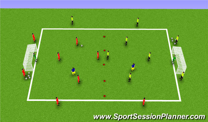 Football/Soccer Session Plan Drill (Colour): 4v4 + number 9