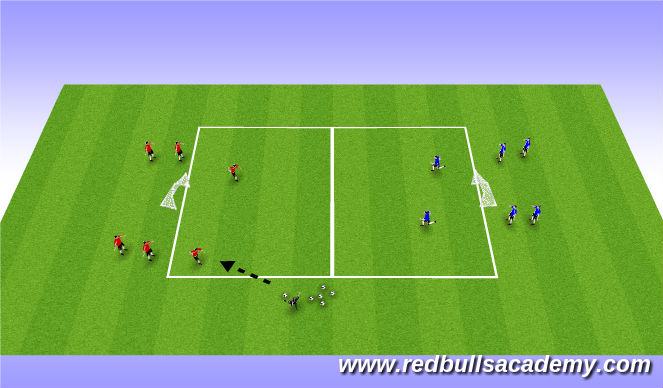 Football/Soccer Session Plan Drill (Colour): 2 vs 1