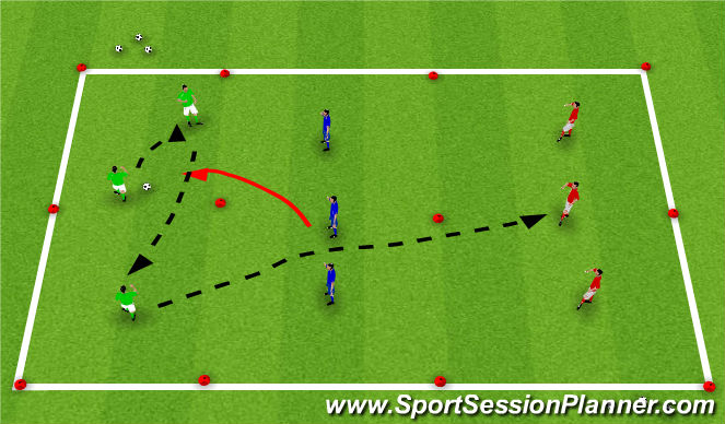 Football/Soccer Session Plan Drill (Colour): Technical Activity - Ball Control - Over the Gap