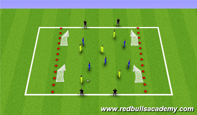 Football/Soccer Session Plan Drill (Colour): Conditioned game with End zones