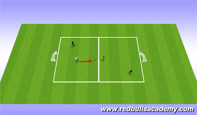 Football/Soccer Session Plan Drill (Colour): 1 vs 1 + 1 in Attacking half