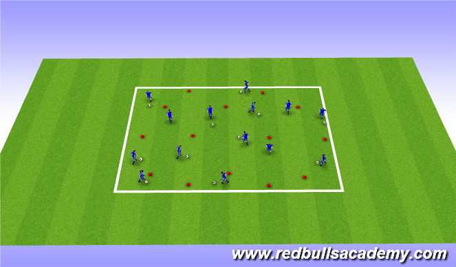 Football/Soccer Session Plan Drill (Colour): Warm Up Part 2: Ball Mastery
