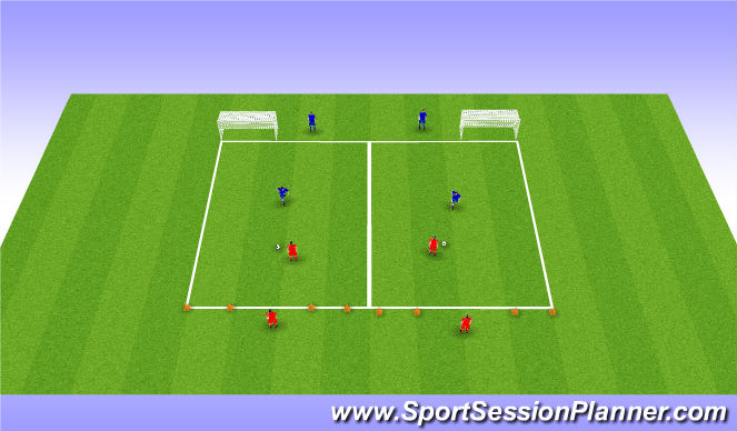 Football/Soccer Session Plan Drill (Colour): 1v1 Principles of Defending