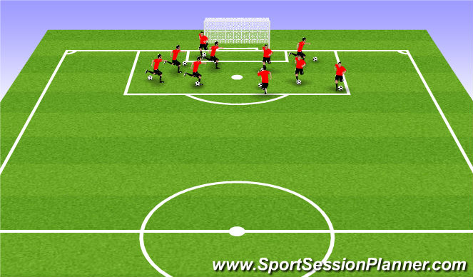 Football/Soccer Session Plan Drill (Colour): warm up technical