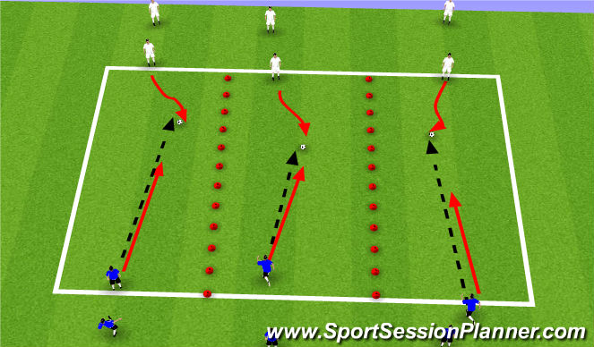 Football/Soccer Session Plan Drill (Colour): 1v1Defending