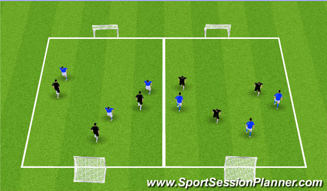 Football/Soccer Session Plan Drill (Colour): 3v3 Games. 10x20 Yards