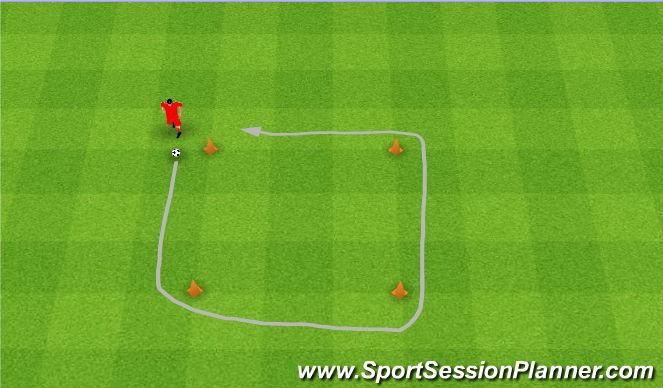Football/Soccer Session Plan Drill (Colour): Square dribble. Prowadzenie piłki po kwadracie.