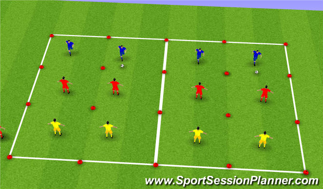 Football/Soccer Session Plan Drill (Colour): 4v2 Defence to Attack Transition